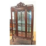 SOLID Mahogany China Crystal Cabinet with Fancy Carved Top  Auction Estimate $200-$400 – Located In