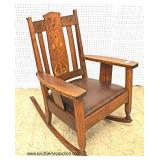 """ANTIQUE """"Stickley Furniture"""" Mission Oak with Arts and Craft Inlay Rocker  Auction Estimate $300-$6"""