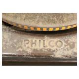 "VINTAGE ""Philco"" Burl Walnut and Inlaid Floor Model Radio/Record Player  Auction Estimate $200-$400"