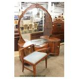 FANCY Depression 5 Piece Burl Walnut and Inlaid with Color Mirrors Bedroom Set with Full Size Bed