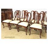 SUPER CLEAN NICE 9 Piece Mahogany Banded Dining Room Table with 3 Leaves and 8 SOLID Mahogany Queen