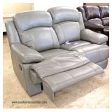 """NEW """"Abbyson Furniture"""" Grey Leather Double Recliner Loveseat  Auction Estimate $300-$600 – Located"""