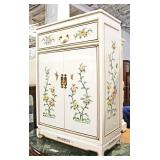 White Lacquer Asian Decorated 2 Door 1 Drawer Side Cabinet  Auction estimate $50-$100 – Located Ins