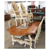 9 Piece Country French Style Decorator Dining Room Table with 8 Chairs and 1 Leaf and Custom Table