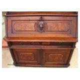 ANTIQUE 2 Piece Walnut Victorian Bookcase Secretary  Auction Estimate $400-$800 – Located Inside