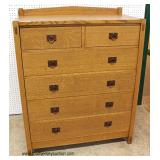 "Mission Oak ""Hile Furniture Warren Mils Studio California"" 5 Drawer High Chest  Auction Estimate $3"