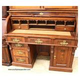 ANTIQUE 2 Piece Walnut Victorian Cylinder Roll Bookcase  Auction Estimate $400-$800 – Located Insid