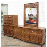 """SOLID Cherry """"White Furniture"""" Country French Style High Chest and Low Chest with Mirror  Auction E"""