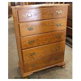 """SOLID Oak """"Tom Seely"""" 5 Drawer High Chest  Auction Estimate $100-$300 – Located Inside"""