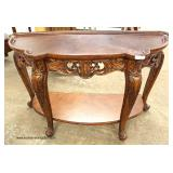 SOLID Mahogany Country French Scalloped Front Console  Auction Estimate $100-$300 – Located Inside