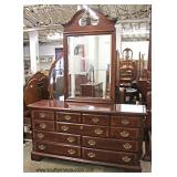 5 Piece Burl Mahogany and Banded Queen Bedroom Set with 2 Piece High Boy and Bed Steps  Auction Est