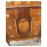 Walnut 2 Tone Depression High Chest and Low Chest with Mirror  Auction Estimate $300-$600 – Located