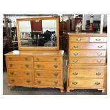"""Maple """"Kling Furniture"""" Low Chest with Mirror and Maple High Chest  Auction Estimate $100-$300 each"""