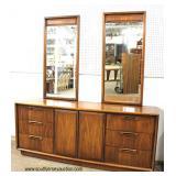 Mid Century Danish Walnut Dresser with Double Mirror  Auction Estimate $200-$400 – Located Inside