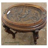 SOLID Walnut VINTAGE Figural Carved Tray Table  Auction Estimate $100-$300 – Located Inside