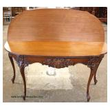 BEAUTIFUL French Style Burl Mahogany and Inlaid Carved Flip Top Extension Table  Auction Estimate $