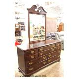 """SOLID Cherry """"Ethan Allen Furniture"""" Bracket Foot Low Chest with Mirror  Auction Estimate $200-$400"""