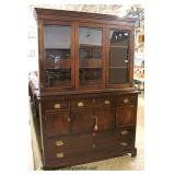 """SOLID Cherry """"Craftique Furniture Colonial House Collection"""" 2 Piece China Cabinet  Auction Estimat"""