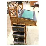 VINTAGE Rattan/Bamboo Davenport Style Desk  Auction Estimate $100-$300 – Located Inside
