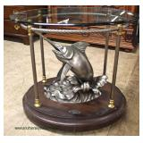 """VERY NICE Nautical Limited Edition """"Hemingway"""" Sword Fish Glass Top Lamp Table  Auction Estimate $2"""