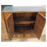 ANTIQUE Asian Original Finish 2 Door 2 Drawer Cabinet  Auction Estimate $100-$300 – Located Inside