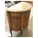 ANTIQUE French Demilune Inlaid Marble Top Chest  Auction Estimate $200-$400 – Located Inside