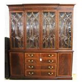 """Burl Mahogany and Banded """"Ethan Allen Furniture"""" 2 Piece 4 Door China Cabinet  Auction Estimate $40"""