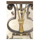 Decorator Culture Marble Metal and Bronze Base Sofa Table with Antelope Head Sides  In the Manner o