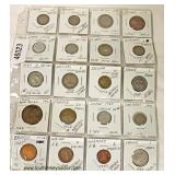 Sheet of 20 Foreign Coins  Auction Estimate $10-$20 –Located Inside
