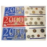 U.S. 2000 (2)-United States Philadelphia Mint and (1) Denver Mint Uncirculated Coin Sets  Auction E