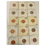 Sheet of 15 Lincoln Head Pennies  Auction Estimate $5-$10 – Located Inside