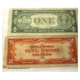 Sheet with 1935 U.S. $1.00 Silver Certificate and Philippine Islands One Peso  Auction Estimate $5-