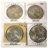 Selection of U.S. Silver Peace Dollars  Auction Estimate $20-$50 each – Located Inside