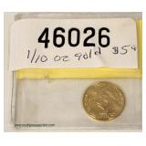 2011 Gold Eagle $5.00 1/10 ounce Gold Coin  Auction Estimate $100-$300 – Located Inside