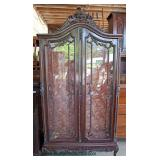 ANTIQUE Walnut French Style 2 Door China Cabinet  Auction Estimate $100-$300 – Located Dock