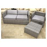 NEW 3 Piece All Weather Wicker Settee Set with Ottoman  Auction Estimate $100-$400 – Located Inside