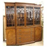 """Large SOLID Mahogany """"Beacon Hill Furniture"""" 2 Piece 4 Door Breakfront with Individual Panes  Aucti"""