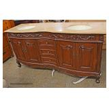 """NEW """"Silkroad Furniture"""" Mahogany Finish Carved Marble Top Double Sink 72"""" Bathroom Vanity  Auction"""