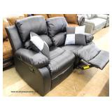 NEW Leather Double Recliner with Decorative Pillows  Auction Estimate $300-$600 – Located Inside