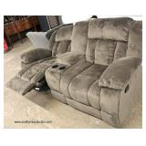 NEW Upholstered Dual Glider Rocker Recliner Sofa with Drink Holders  Auction Estimate $300-$600 – L