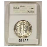U.S. 1945-D Graded Silver Walking Liberty Half Dollar  Auction Estimate $20-$40 – Located Inside