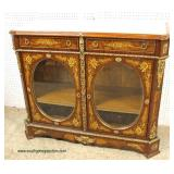 French Style Mahogany Inlaid and Banded Marble Top 2 Drawer 2 Oval Glass Door Buffet with Applied B