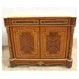 French Style Mahogany Inlaid and Banded Marble Top 2 Door 2 Door Buffet with Applied Bronze  Auctio
