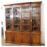 Large attributed to Baker Furniture Individual Pane 4 Door 2 Piece Burl Mahogany China Cabinet  Auc