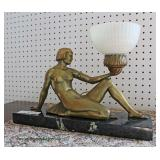 Semi Antique Art Noueau Brass Figural on Marble with Original Shade Lamp  Auction Estimate $300-$60