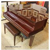 ABSOLUTELY BEAUTIFUL Lacquer Mahogany Yamaha Baby Grand Piano with Player, Bench, Disk, and Cd's  A
