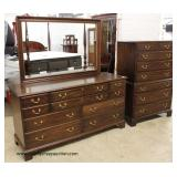 "BEAUTIFUL SOLID Mahogany ""Henkel Harris Furniture""  3 Pieces High Chest, Low Chest and Mirror  Auct"
