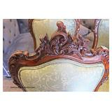 """Set of 4"" Victorian Antique Music Chairs in the Carved Rosewood with Upholstered Seats and Backs"