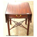 "SOLID Mahogany ""Henkel Harris Furniture – SPNEA"" Stretcher Base One Drawer Drop Side Lamp Table  Au"