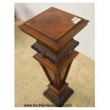 ANTIQUE Walnut Inlaid Victorian Pedestal  Auction Estimate $200-$400 – Located Inside